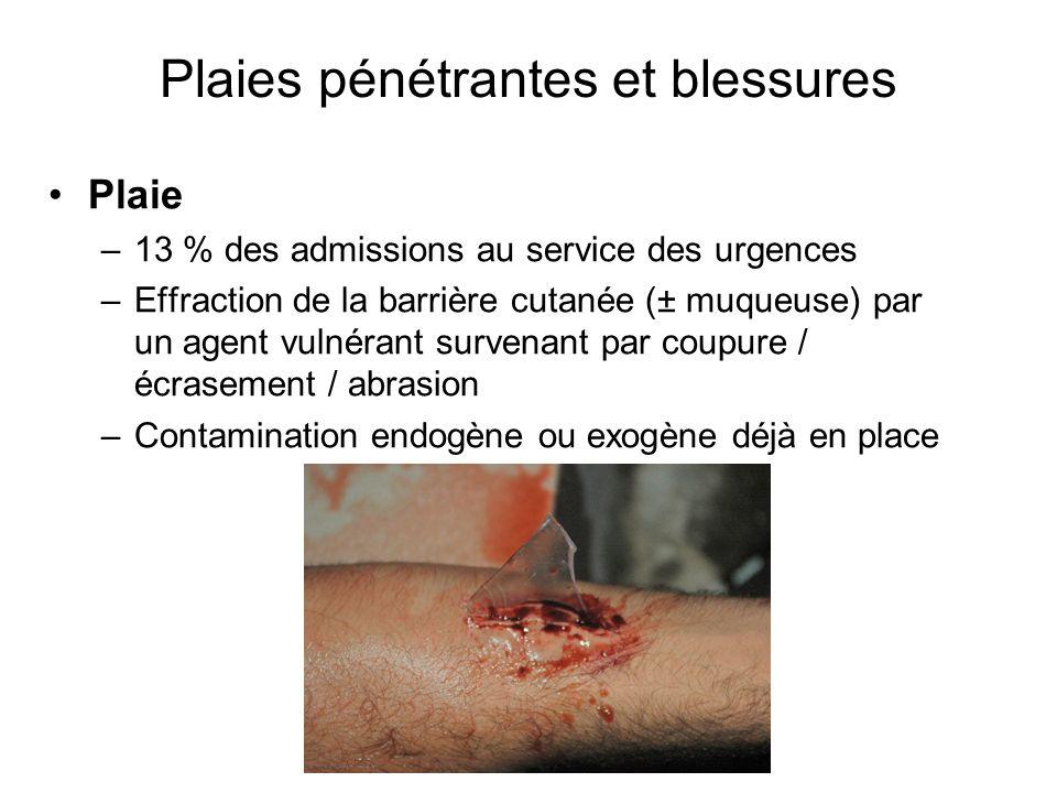 Plaies pénétrantes et blessures Plaie –13 % des admissions au service des urgences –Effraction de la barrière cutanée (± muqueuse) par un agent vulnér