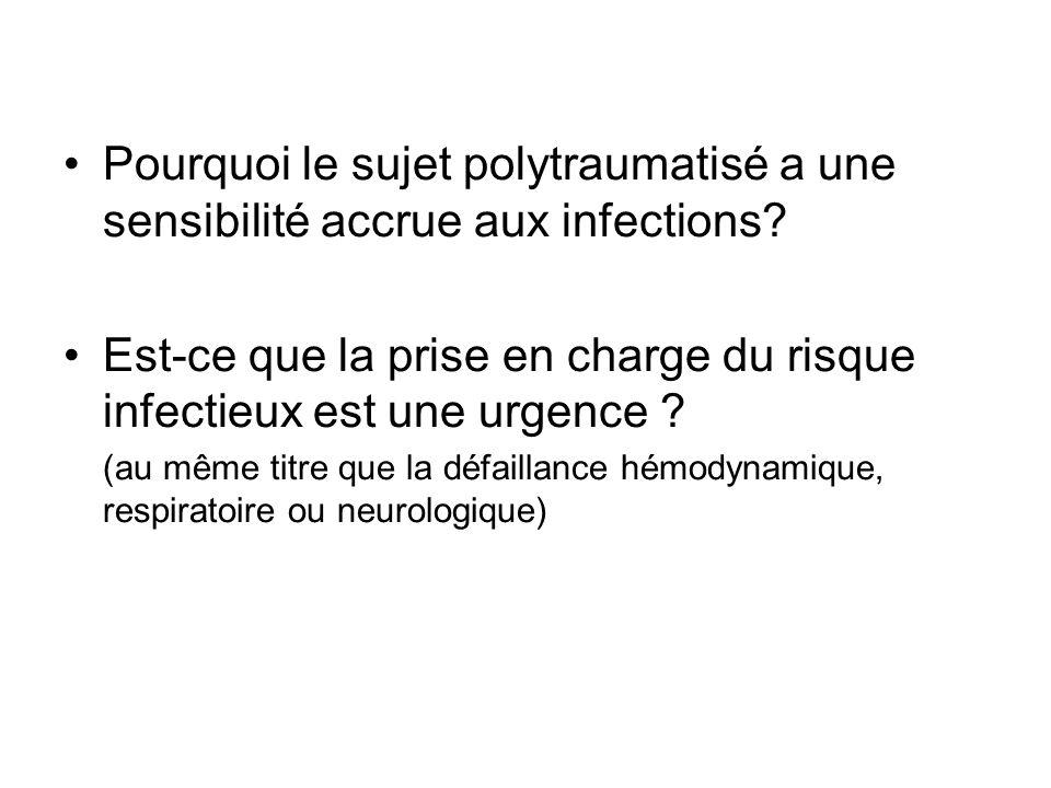 Pourquoi le sujet polytraumatisé a une sensibilité accrue aux infections? Est-ce que la prise en charge du risque infectieux est une urgence ? (au mêm