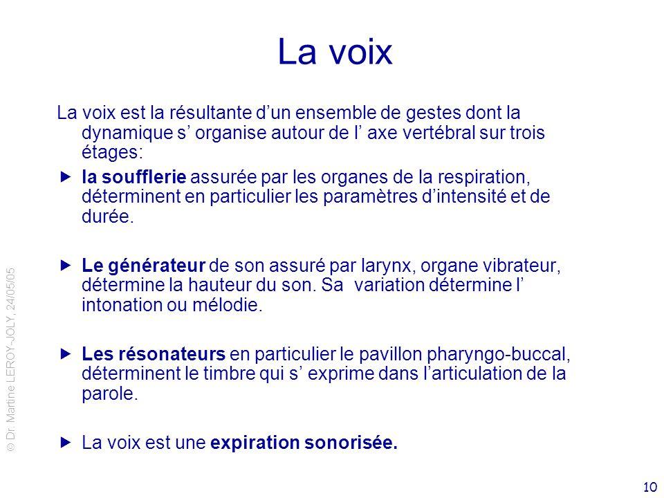 Dr. Martine LEROY-JOLY, 24/05/05 10 La voix La voix est la résultante dun ensemble de gestes dont la dynamique s organise autour de l axe vertébral su