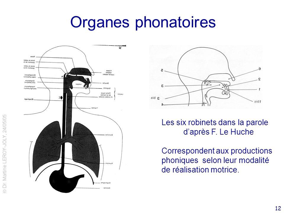Dr. Martine LEROY-JOLY, 24/05/05 12 Organes phonatoires Les six robinets dans la parole daprès F. Le Huche Correspondent aux productions phoniques sel