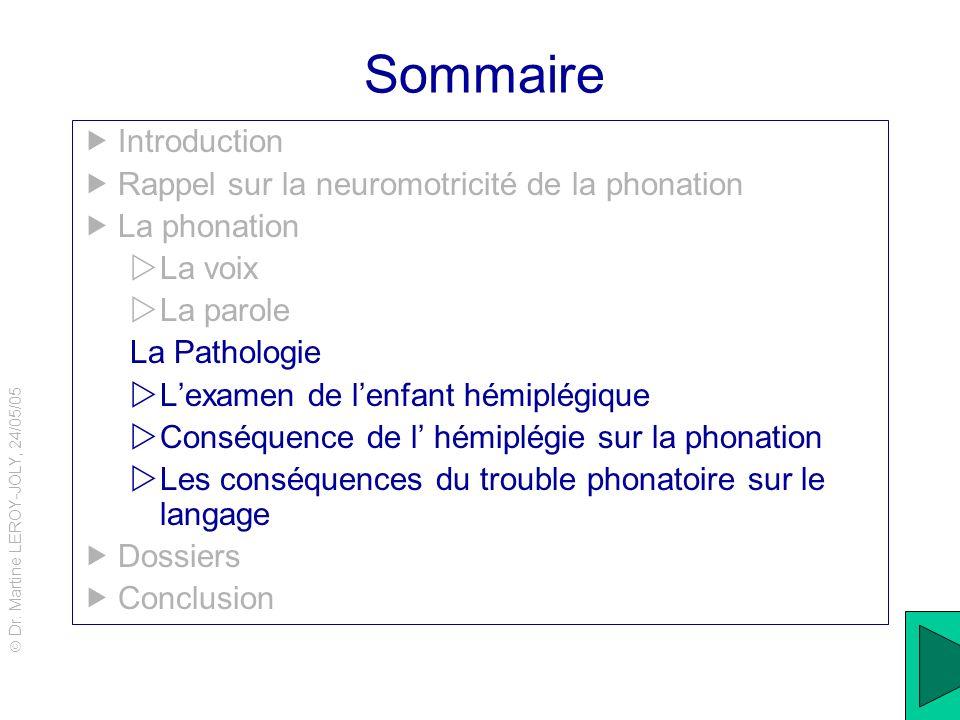 Dr. Martine LEROY-JOLY, 24/05/05 15 Sommaire Introduction Rappel sur la neuromotricité de la phonation La phonation La voix La parole La Pathologie Le