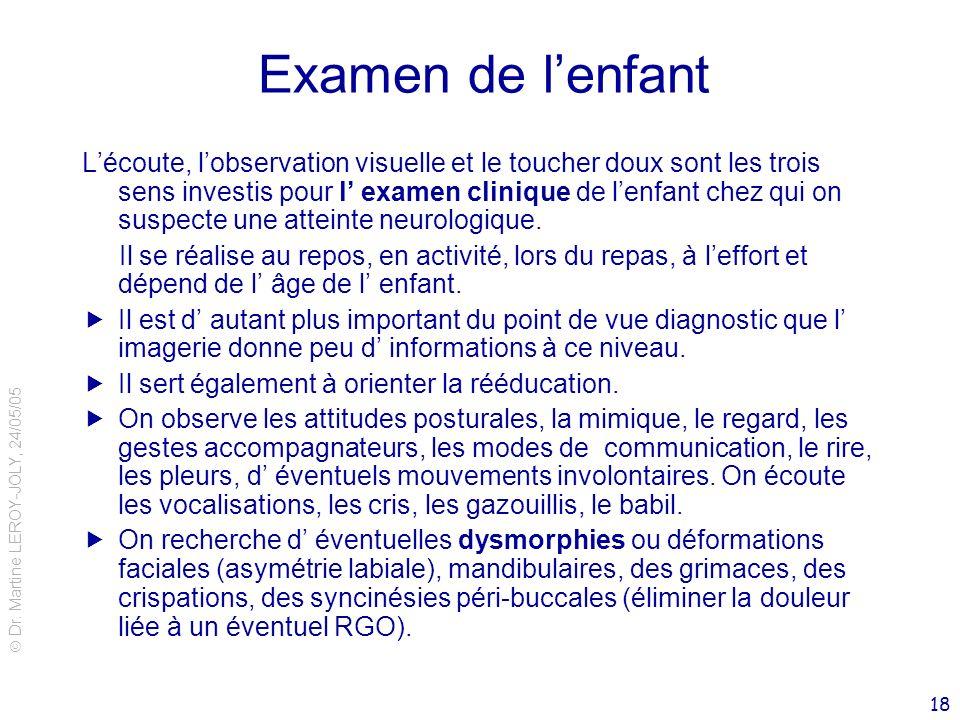 Dr. Martine LEROY-JOLY, 24/05/05 18 Examen de lenfant Lécoute, lobservation visuelle et le toucher doux sont les trois sens investis pour l examen cli