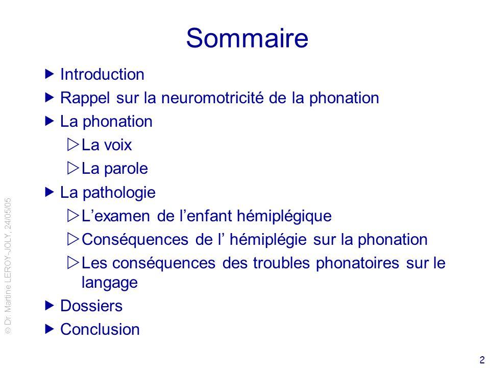 Dr. Martine LEROY-JOLY, 24/05/05 2 Sommaire Introduction Rappel sur la neuromotricité de la phonation La phonation La voix La parole La pathologie Lex