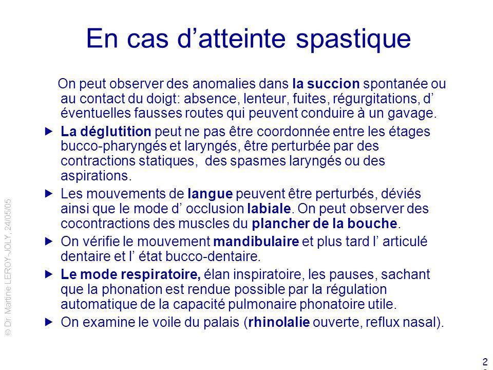 Dr. Martine LEROY-JOLY, 24/05/05 20 En cas datteinte spastique On peut observer des anomalies dans la succion spontanée ou au contact du doigt: absenc