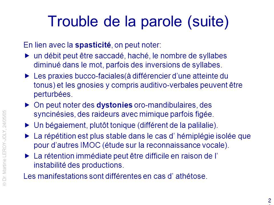 Dr. Martine LEROY-JOLY, 24/05/05 23 Trouble de la parole (suite) En lien avec la spasticité, on peut noter: un débit peut être saccadé, haché, le nomb