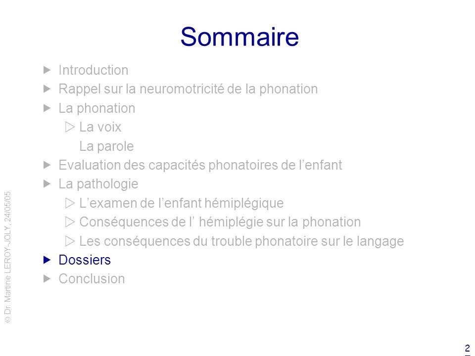 Dr. Martine LEROY-JOLY, 24/05/05 27 Sommaire Introduction Rappel sur la neuromotricité de la phonation La phonation La voix La parole Evaluation des c