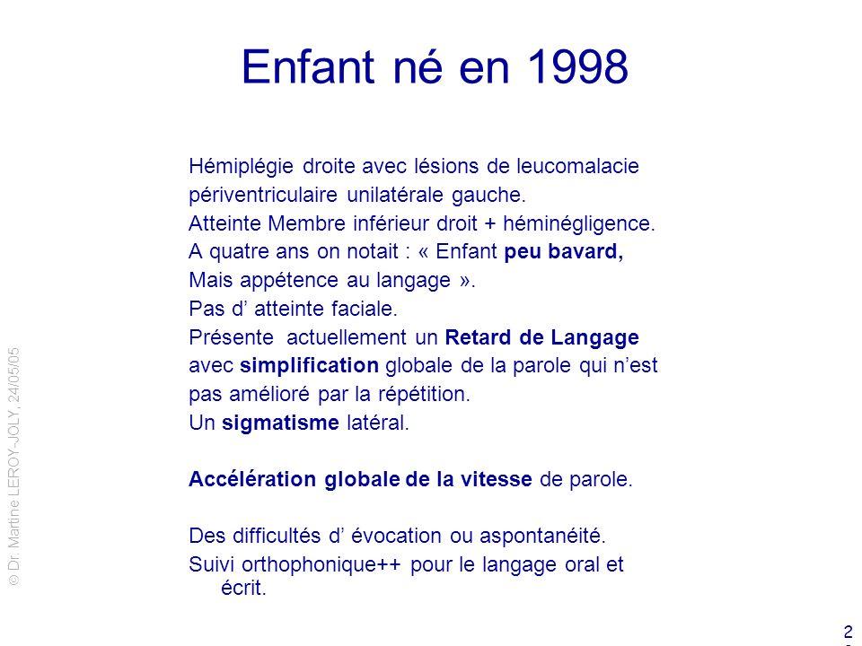 Dr. Martine LEROY-JOLY, 24/05/05 29 Enfant né en 1998 Hémiplégie droite avec lésions de leucomalacie périventriculaire unilatérale gauche. Atteinte Me