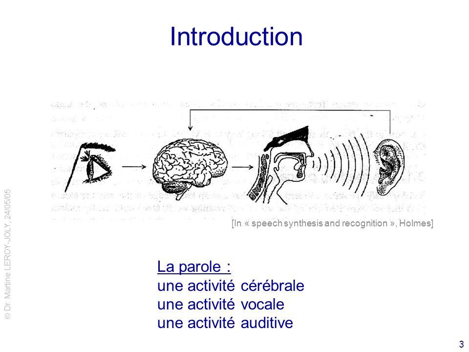 Dr. Martine LEROY-JOLY, 24/05/05 3 Introduction [In « speech synthesis and recognition », Holmes] La parole : une activité cérébrale une activité voca