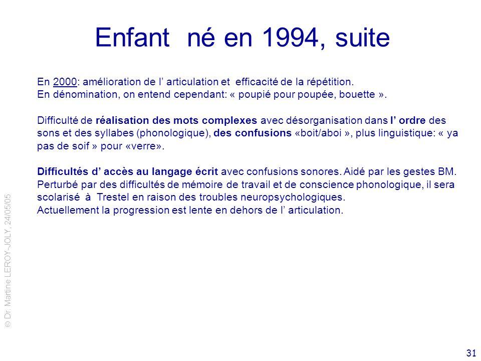 Dr. Martine LEROY-JOLY, 24/05/05 31 Enfant né en 1994, suite En 2000: amélioration de l articulation et efficacité de la répétition. En dénomination,