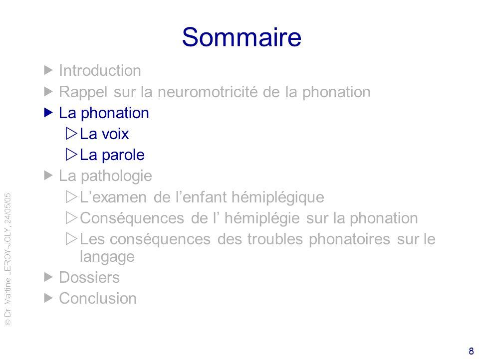 Dr. Martine LEROY-JOLY, 24/05/05 8 Sommaire Introduction Rappel sur la neuromotricité de la phonation La phonation La voix La parole La pathologie Lex