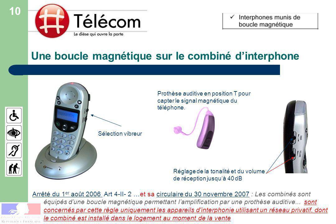 Une boucle magnétique sur le combiné dinterphone Arrêté du 1 er août 2006 Arrêté du 1 er août 2006 Art 4-II- 2 …et sa circulaire du 30 novembre 2007 : Les combinés sont équipés dune boucle magnétique permettant lamplification par une prothèse auditive...