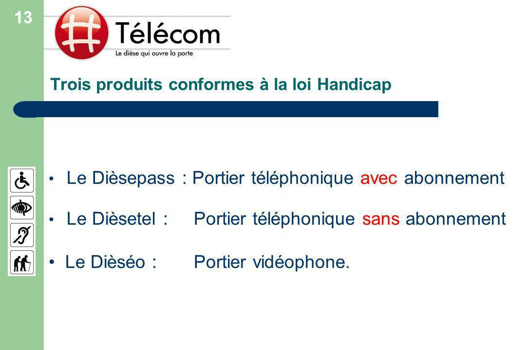 Trois produits conformes à la loi Handicap Le Dièsepass : Portier téléphonique avec abonnement Le Dièsetel : Portier téléphonique sans abonnement Le Dièséo : Portier vidéophone.