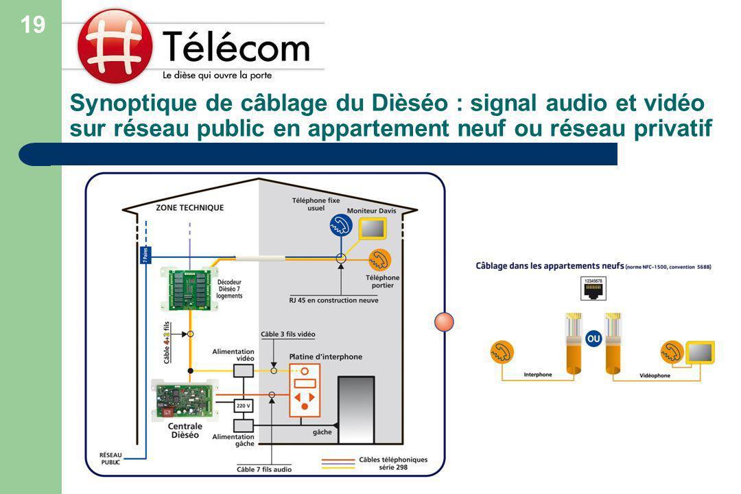 Synoptique de câblage du Dièséo : signal audio et vidéo sur réseau public en appartement neuf ou réseau privatif 19