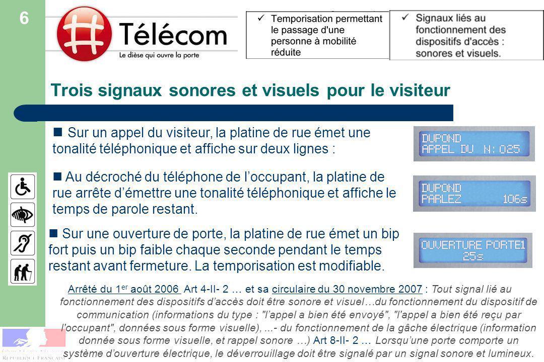 Trois signaux sonores et visuels pour le visiteur Sur un appel du visiteur, la platine de rue émet une tonalité téléphonique et affiche sur deux lignes : Arrêté du 1 er août 2006 Arrêté du 1 er août 2006 Art 4-II- 2 … et sa circulaire du 30 novembre 2007 : Tout signal lié au fonctionnement des dispositifs daccès doit être sonore et visuel…du fonctionnement du dispositif de communication (informations du type : lappel a bien été envoyé , l appel a bien été reçu par l occupant , données sous forme visuelle),...- du fonctionnement de la gâche électrique (information donnée sous forme visuelle, et rappel sonore …) Art 8-II- 2 … Lorsquune porte comporte un système douverture électrique, le déverrouillage doit être signalé par un signal sonore et lumineux.circulaire du 30 novembre 2007 Au décroché du téléphone de loccupant, la platine de rue arrête démettre une tonalité téléphonique et affiche le temps de parole restant.