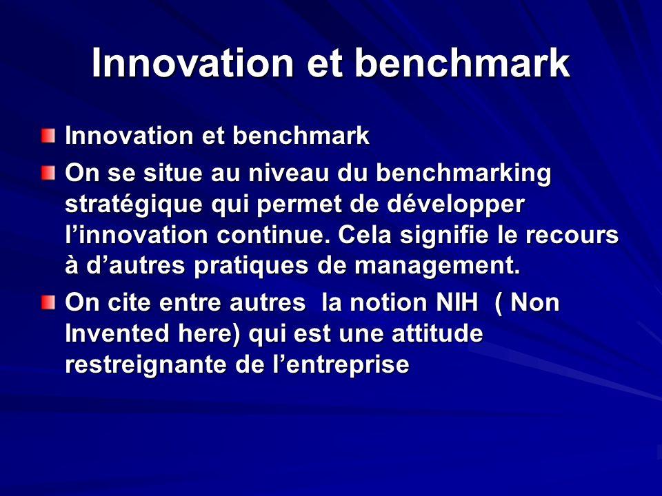 Innovation et benchmark On se situe au niveau du benchmarking stratégique qui permet de développer linnovation continue. Cela signifie le recours à da