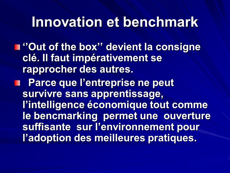 Innovation et benchmark Out of the box devient la consigne clé. Il faut impérativement se rapprocher des autres. Parce que lentreprise ne peut survivr