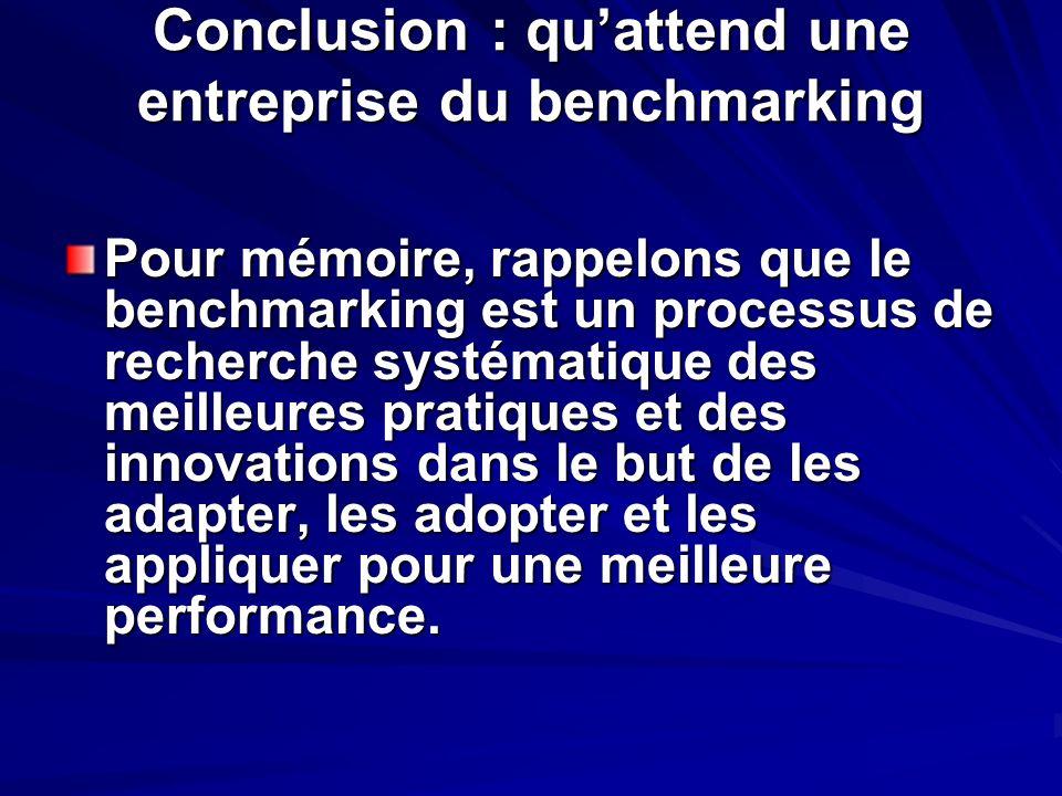 Conclusion : quattend une entreprise du benchmarking Pour mémoire, rappelons que le benchmarking est un processus de recherche systématique des meille