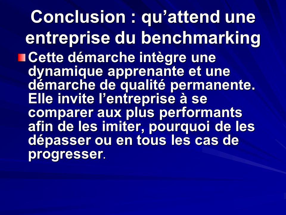 Conclusion : quattend une entreprise du benchmarking Cette démarche intègre une dynamique apprenante et une démarche de qualité permanente. Elle invit