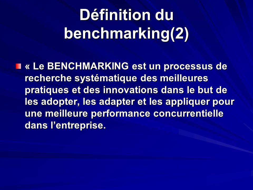 Définition du benchmarking(2) « Le BENCHMARKING est un processus de recherche systématique des meilleures pratiques et des innovations dans le but de