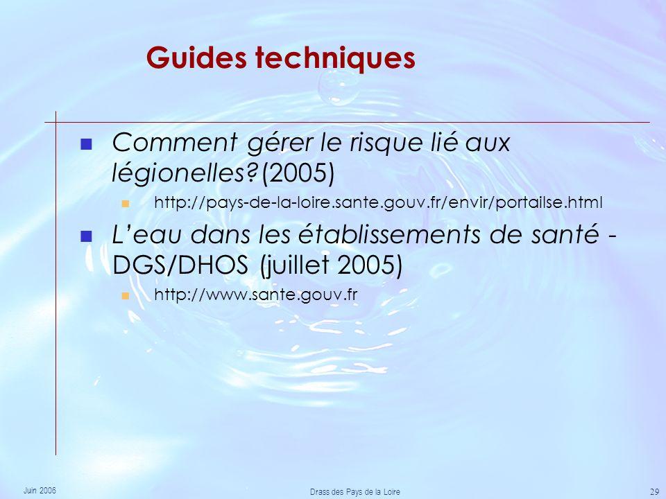 Juin 2006 Drass des Pays de la Loire 29 Guides techniques Comment gérer le risque lié aux légionelles?(2005) http://pays-de-la-loire.sante.gouv.fr/envir/portailse.html Leau dans les établissements de santé - DGS/DHOS (juillet 2005) http://www.sante.gouv.fr