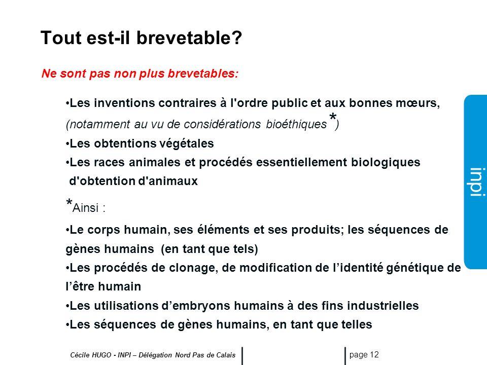 inpi Cécile HUGO - INPI – Délégation Nord Pas de Calais page 11 Ne sont pas considérées comme des inventions: (art.L611-10 CPI) Les découvertes, théor