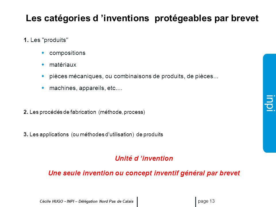 inpi Cécile HUGO - INPI – Délégation Nord Pas de Calais page 12 Ne sont pas non plus brevetables: Les inventions contraires à l'ordre public et aux bo
