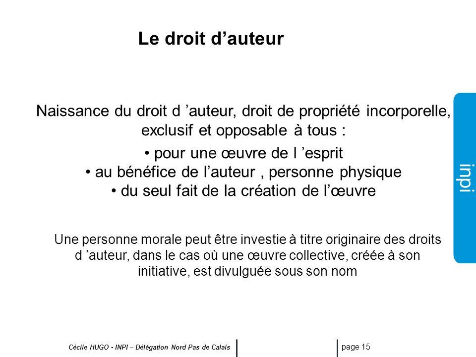 inpi Cécile HUGO - INPI – Délégation Nord Pas de Calais page 14 Le Droit dauteur