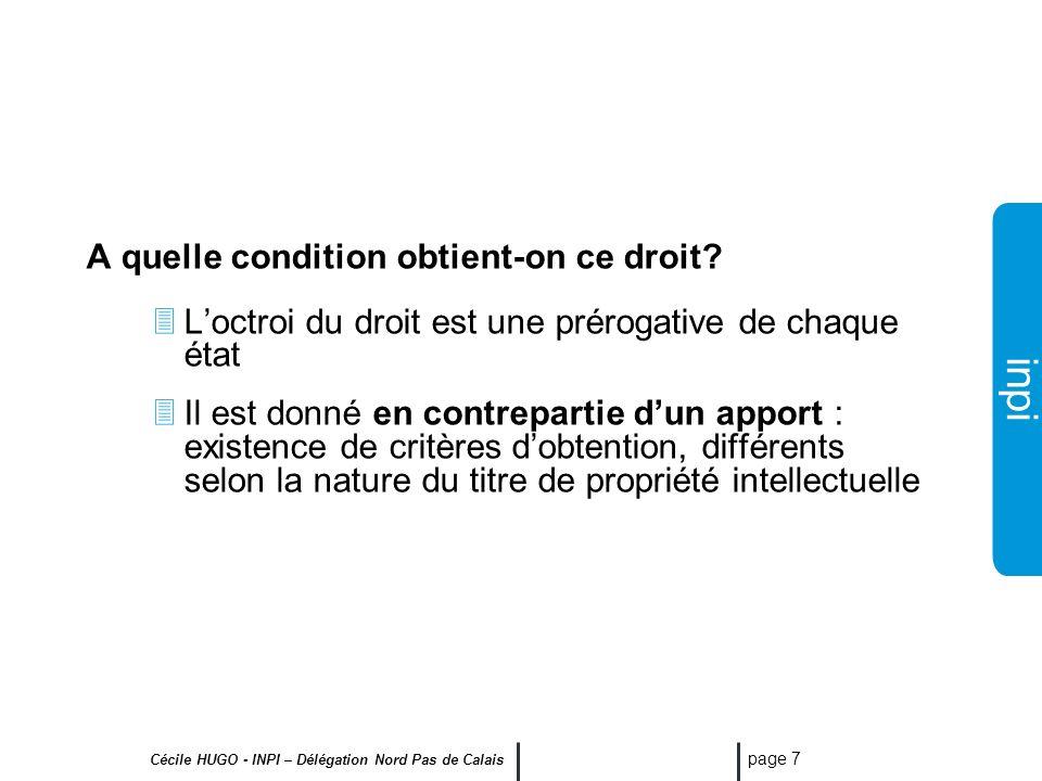inpi Cécile HUGO - INPI – Délégation Nord Pas de Calais page 6 Le titulaire du brevet peut sopposer dans le pays considéré aux actes de : fabrication