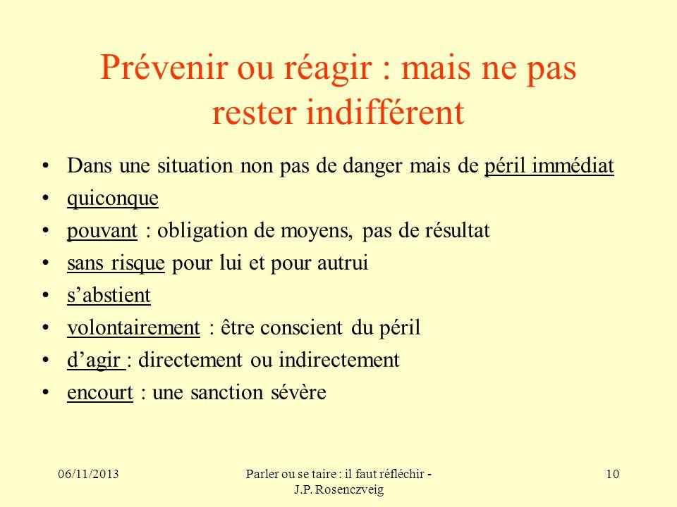 06/11/2013Parler ou se taire : il faut réfléchir - J.P. Rosenczveig 10 Prévenir ou réagir : mais ne pas rester indifférent Dans une situation non pas