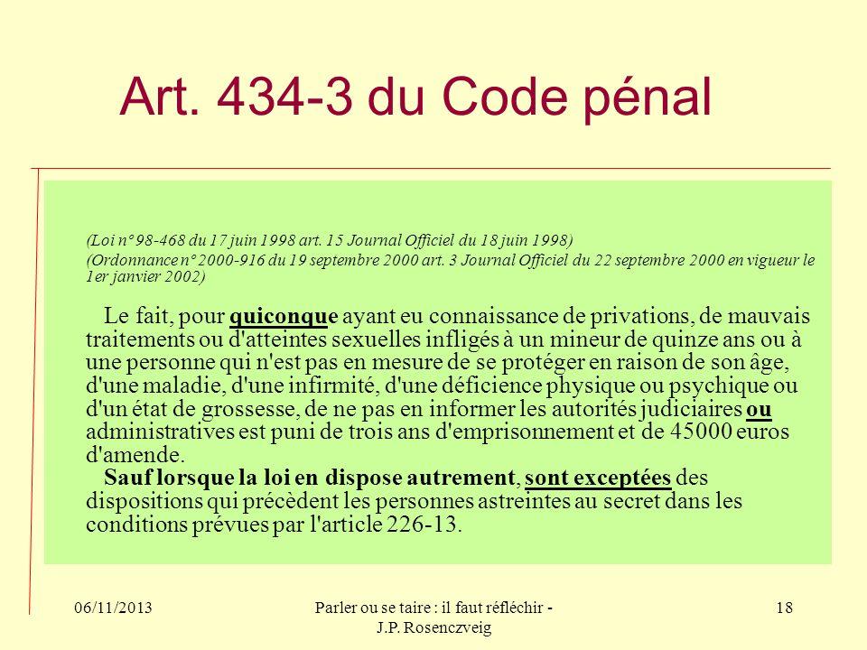 06/11/2013Parler ou se taire : il faut réfléchir - J.P. Rosenczveig 18 Art. 434-3 du Code pénal (Loi nº 98-468 du 17 juin 1998 art. 15 Journal Officie