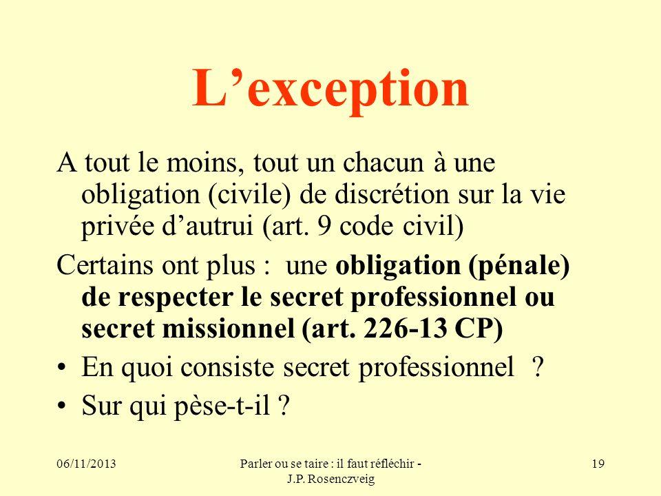 06/11/2013Parler ou se taire : il faut réfléchir - J.P. Rosenczveig 19 Lexception A tout le moins, tout un chacun à une obligation (civile) de discrét