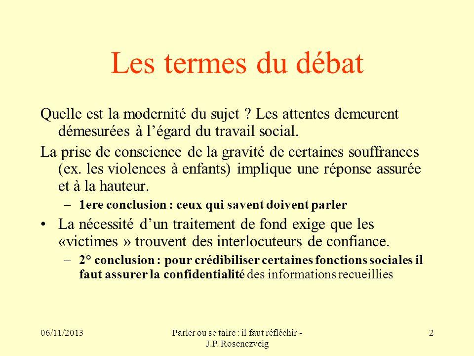 06/11/2013Parler ou se taire : il faut réfléchir - J.P. Rosenczveig 2 Les termes du débat Quelle est la modernité du sujet ? Les attentes demeurent dé