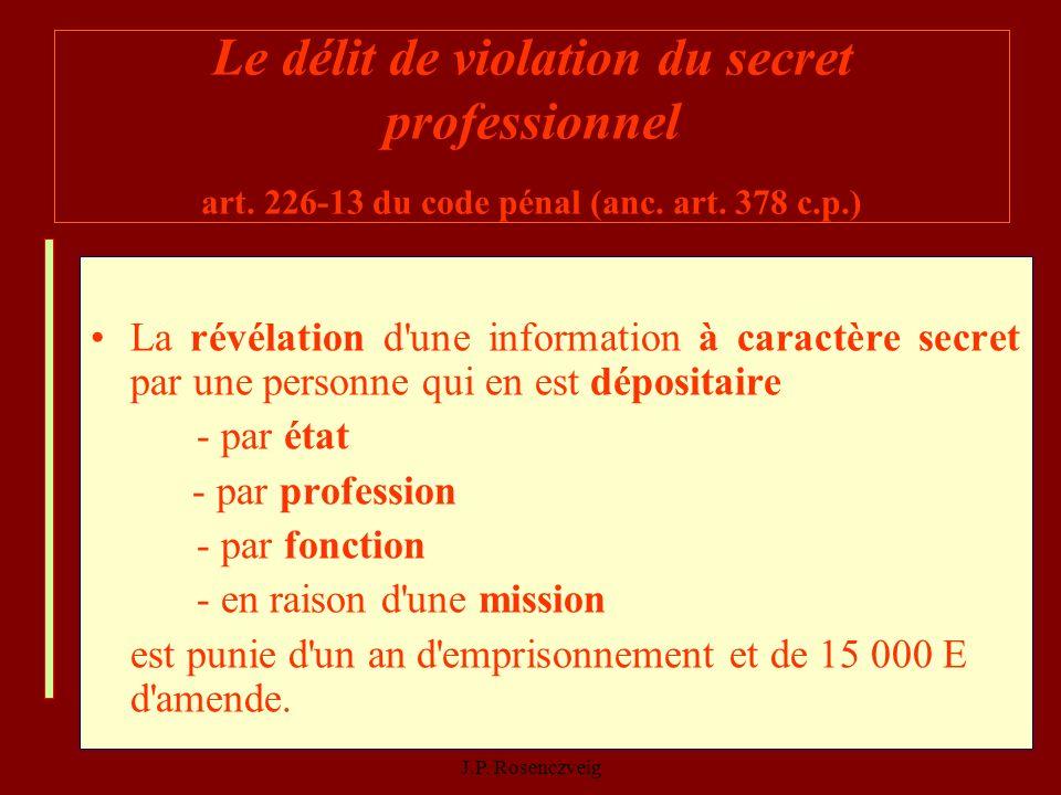 06/11/2013Parler ou se taire : il faut réfléchir - J.P. Rosenczveig 21 Le délit de violation du secret professionnel art. 226-13 du code pénal (anc. a