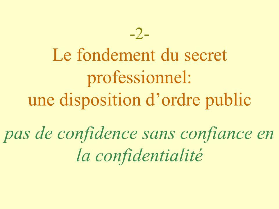 -2- Le fondement du secret professionnel: une disposition dordre public pas de confidence sans confiance en la confidentialité