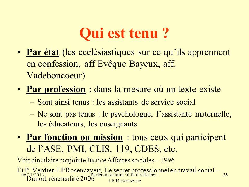 06/11/2013Parler ou se taire : il faut réfléchir - J.P. Rosenczveig 26 Qui est tenu ? Par état (les ecclésiastiques sur ce quils apprennent en confess