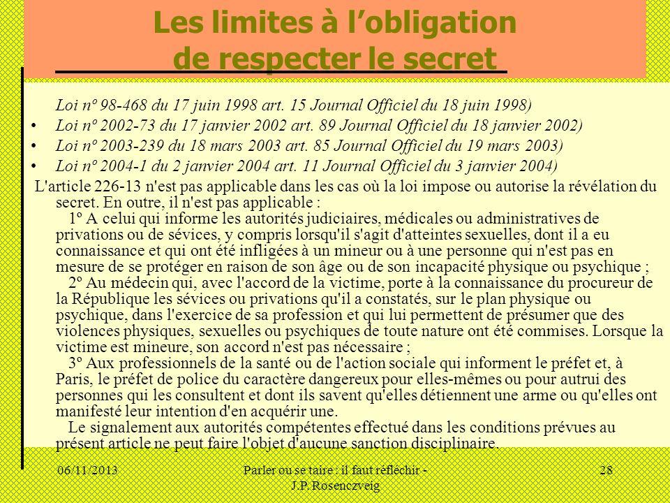 06/11/2013Parler ou se taire : il faut réfléchir - J.P. Rosenczveig 28 Les limites à lobligation de respecter le secret Loi nº 98-468 du 17 juin 1998