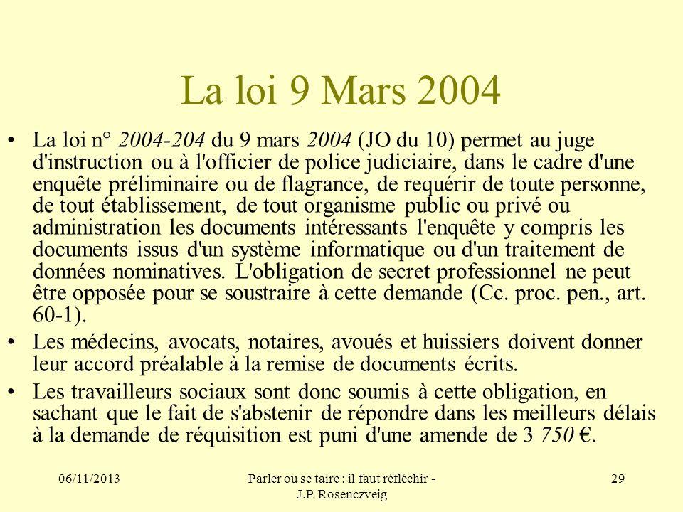 06/11/2013Parler ou se taire : il faut réfléchir - J.P. Rosenczveig 29 La loi 9 Mars 2004 La loi n° 2004-204 du 9 mars 2004 (JO du 10) permet au juge