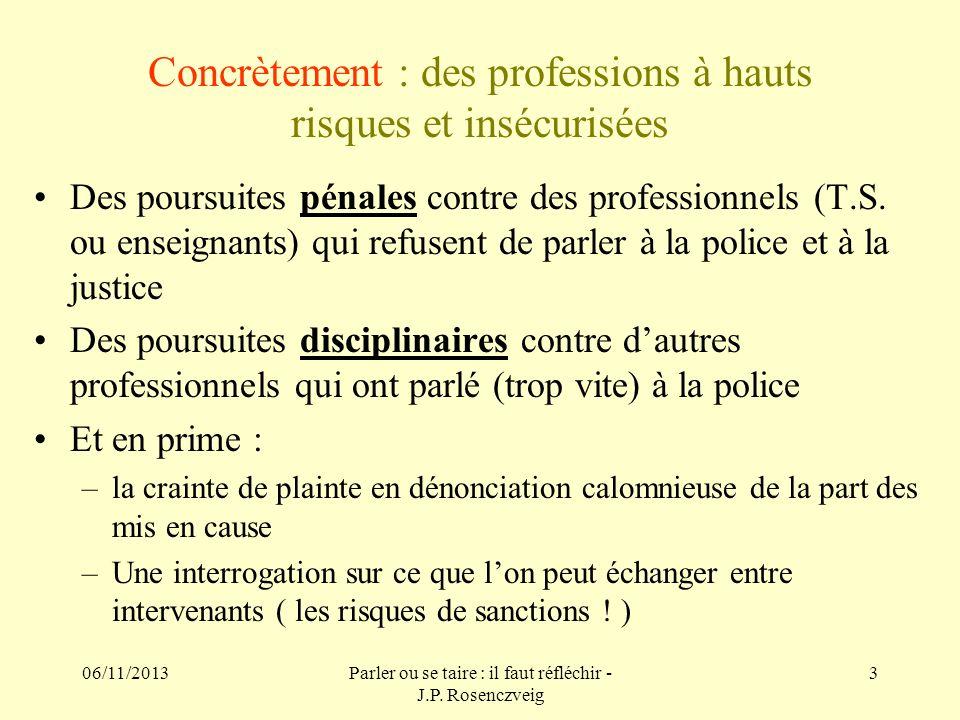 06/11/2013Parler ou se taire : il faut réfléchir - J.P. Rosenczveig 3 Concrètement : des professions à hauts risques et insécurisées Des poursuites pé