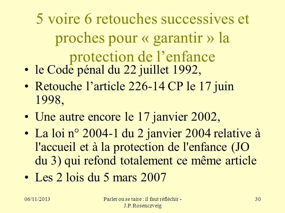 06/11/2013Parler ou se taire : il faut réfléchir - J.P. Rosenczveig 30 5 voire 6 retouches successives et proches pour « garantir » la protection de l