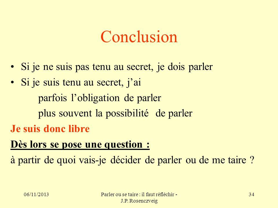 06/11/2013Parler ou se taire : il faut réfléchir - J.P. Rosenczveig 34 Conclusion Si je ne suis pas tenu au secret, je dois parler Si je suis tenu au