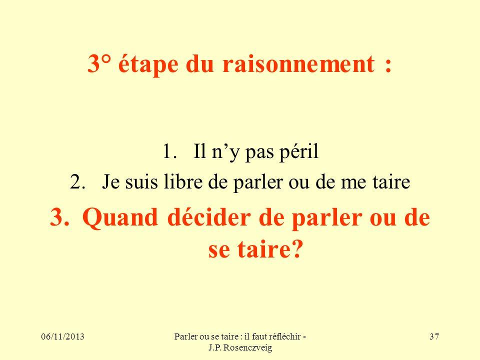 06/11/2013Parler ou se taire : il faut réfléchir - J.P. Rosenczveig 37 3° étape du raisonnement : 1.Il ny pas péril 2.Je suis libre de parler ou de me