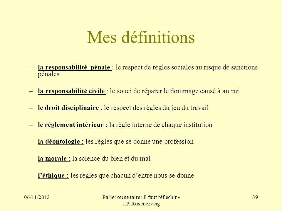 06/11/2013Parler ou se taire : il faut réfléchir - J.P. Rosenczveig 39 Mes définitions –la responsabilité pénale : le respect de règles sociales au ri