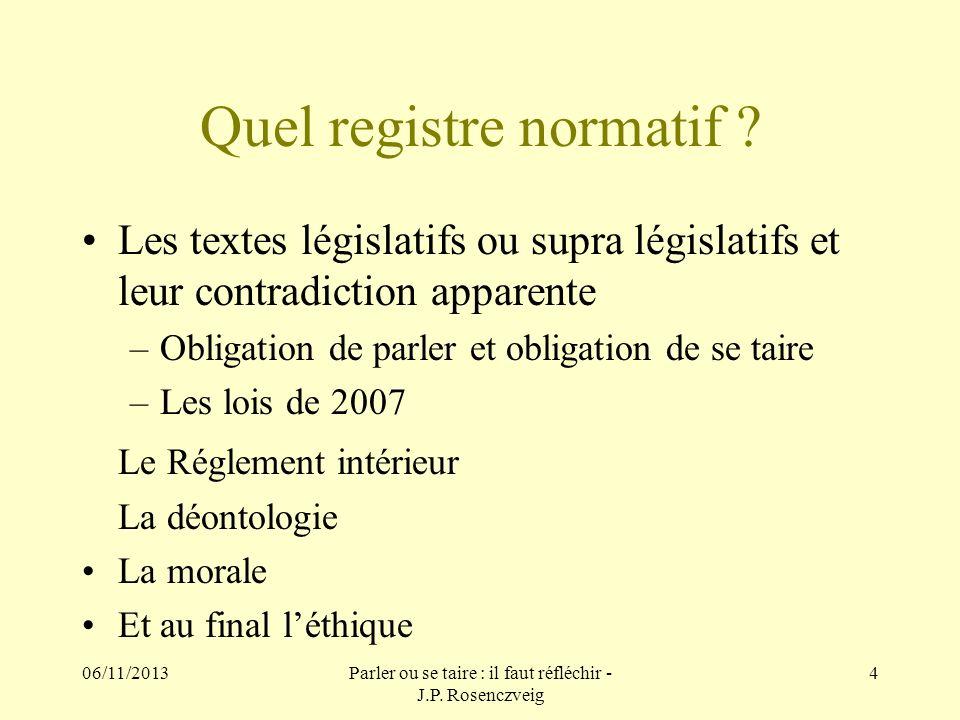 Quel registre normatif ? Les textes législatifs ou supra législatifs et leur contradiction apparente –Obligation de parler et obligation de se taire –