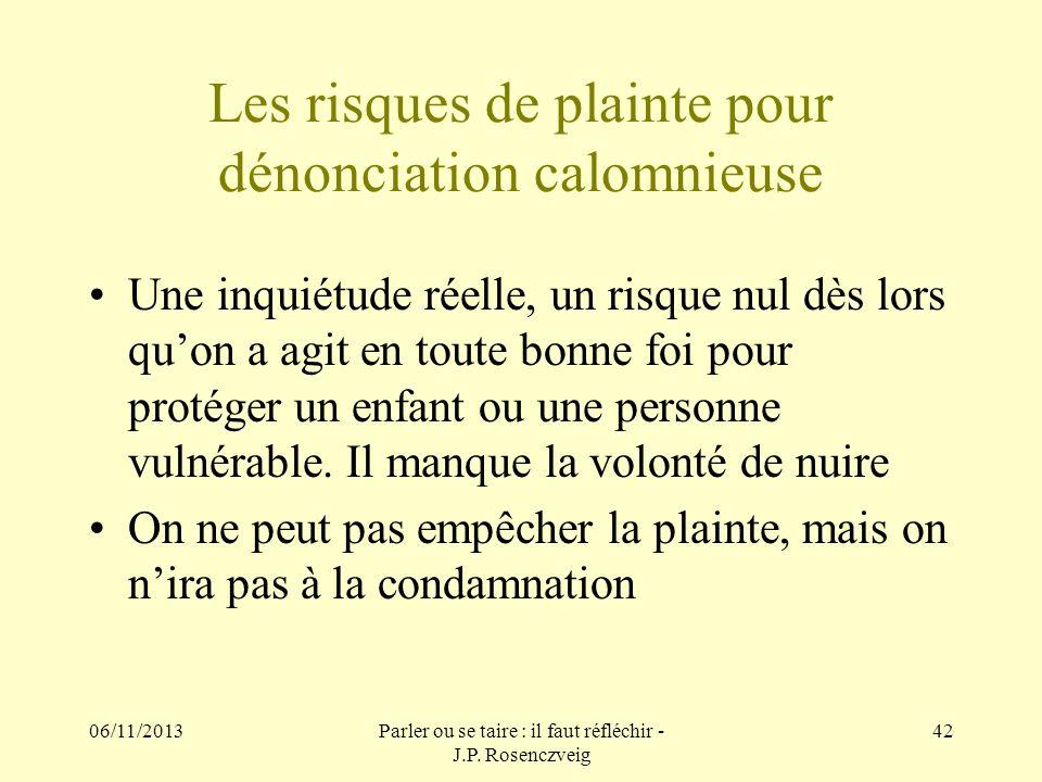 06/11/2013Parler ou se taire : il faut réfléchir - J.P. Rosenczveig 42 Les risques de plainte pour dénonciation calomnieuse Une inquiétude réelle, un