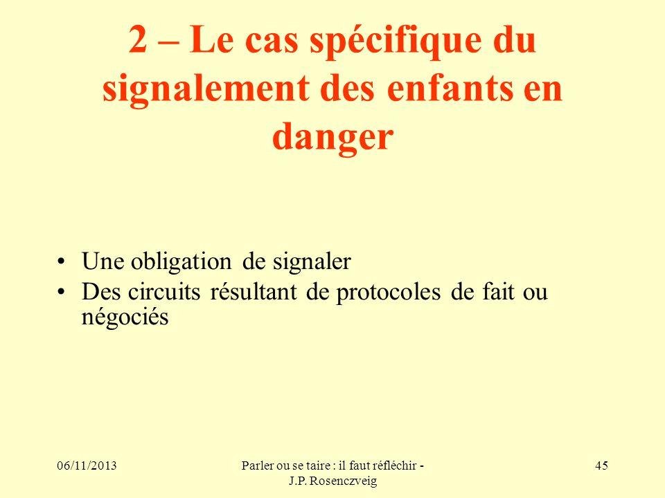 06/11/2013Parler ou se taire : il faut réfléchir - J.P. Rosenczveig 45 2 – Le cas spécifique du signalement des enfants en danger Une obligation de si