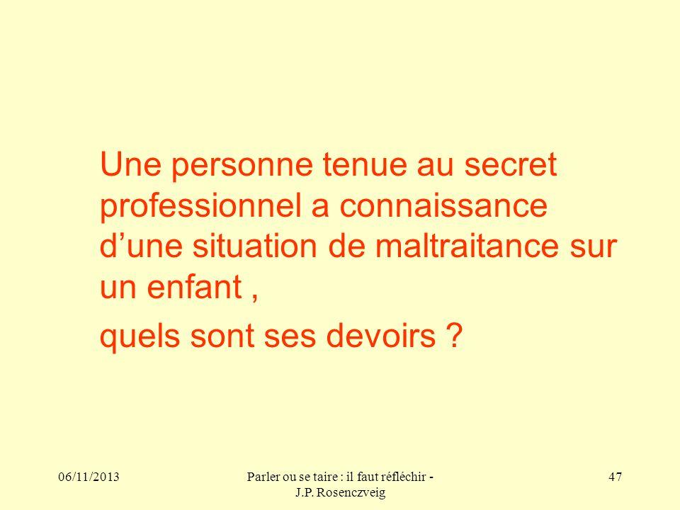 06/11/2013Parler ou se taire : il faut réfléchir - J.P. Rosenczveig 47 Une personne tenue au secret professionnel a connaissance dune situation de mal