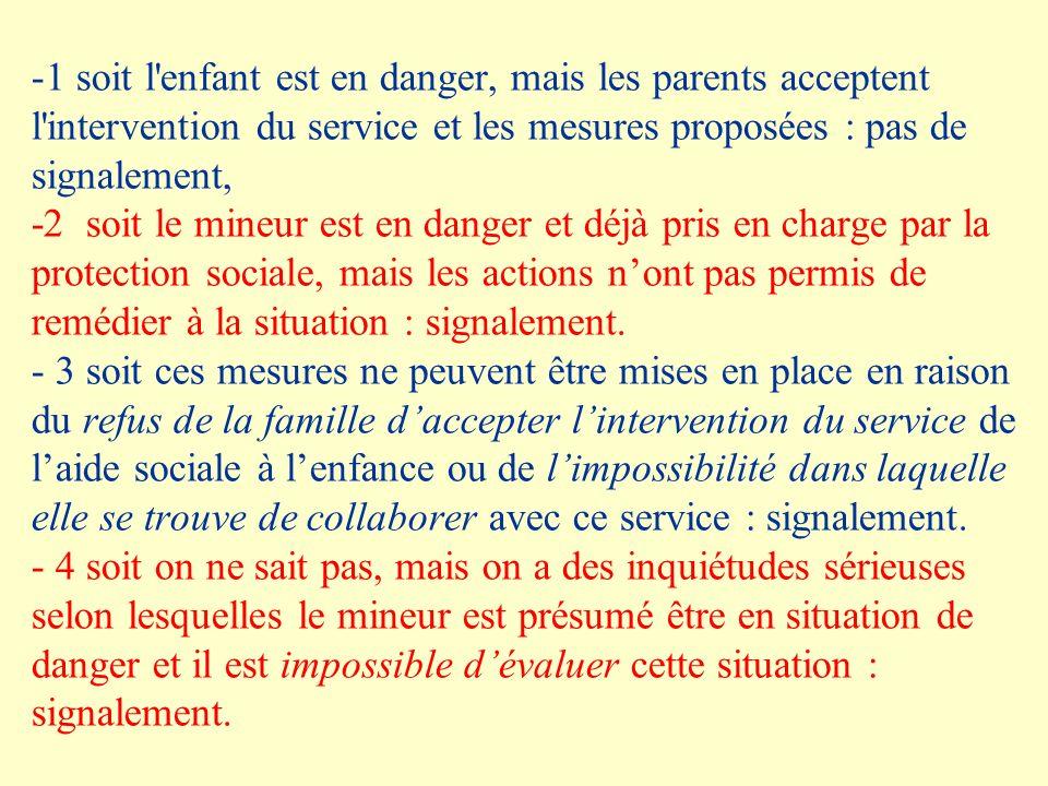 -1 soit l'enfant est en danger, mais les parents acceptent l'intervention du service et les mesures proposées : pas de signalement, -2 soit le mineur