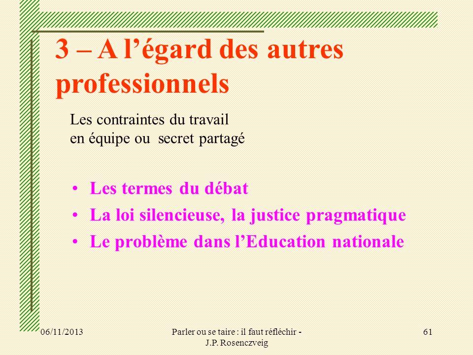 06/11/2013Parler ou se taire : il faut réfléchir - J.P. Rosenczveig 61 Les termes du débat La loi silencieuse, la justice pragmatique Le problème dans