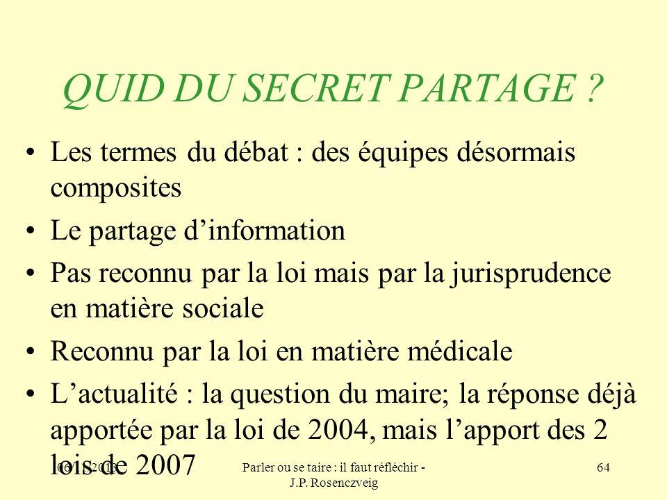 06/11/2013Parler ou se taire : il faut réfléchir - J.P. Rosenczveig 64 QUID DU SECRET PARTAGE ? Les termes du débat : des équipes désormais composites