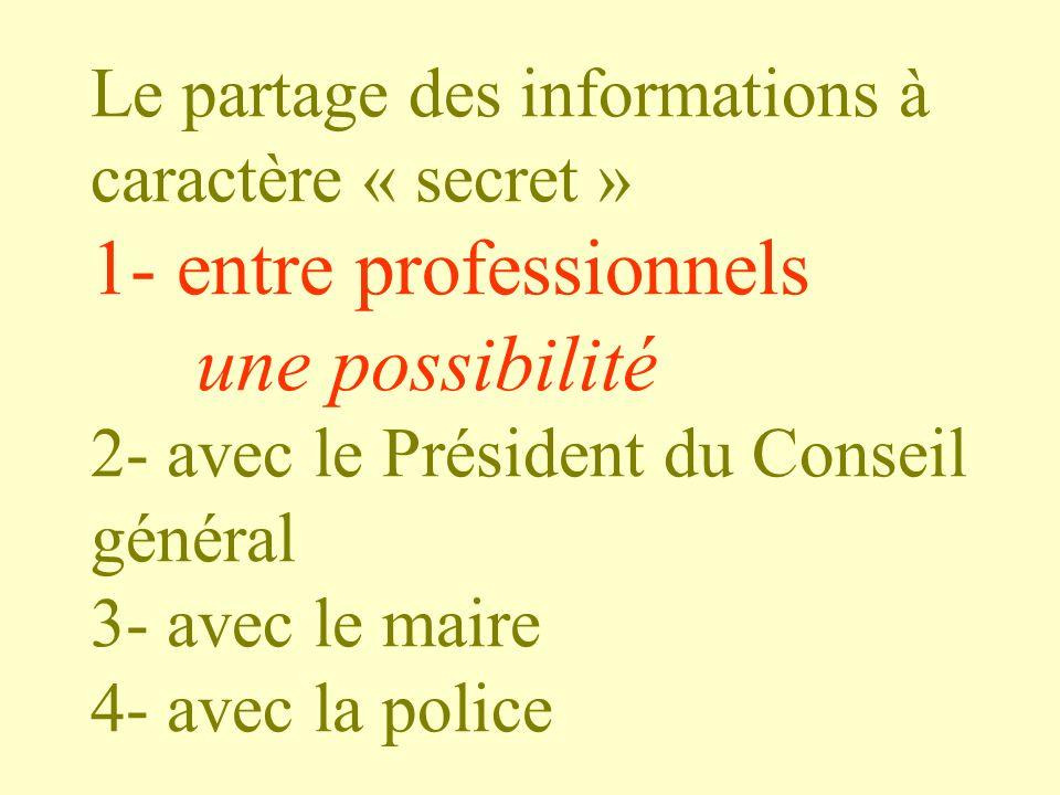 Le partage des informations à caractère « secret » 1- entre professionnels une possibilité 2- avec le Président du Conseil général 3- avec le maire 4-